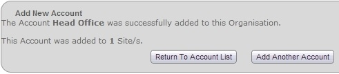 Fig 6 - Account Created Confirmation
