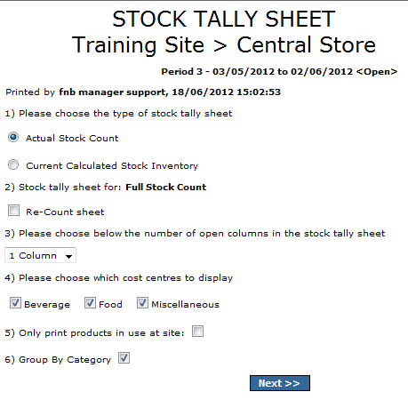 Fig.9 This image shows the available options when an interface for the stock sheet is selected