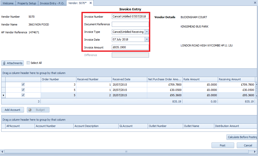 Fig. 03 - Invoice Entry Fields