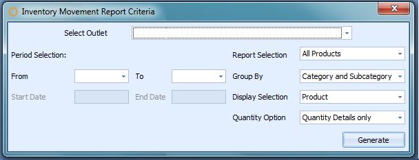 Inventory Movement Report Criteria