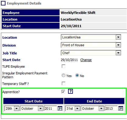 Fig 2 – Apprentice Setting Enabled on Employment Details Page