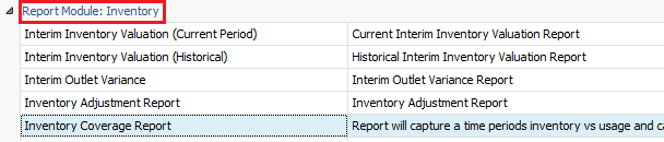 Inventory Coverage Report