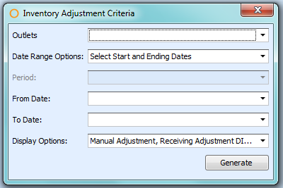 Inventory Adjustment Report Criteria