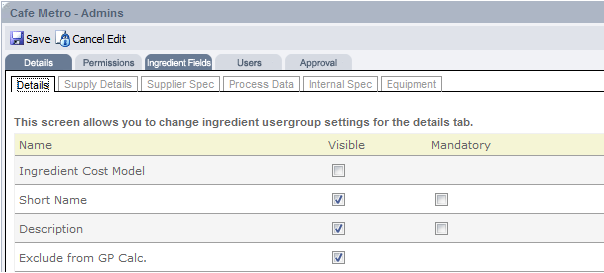Fig 6 - Editable Ingredient Fields for a User Group