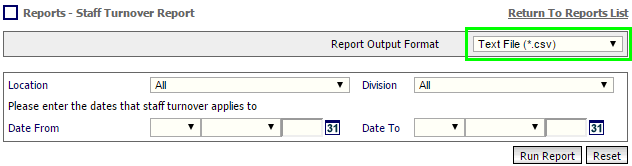 Fig 1 - Report Output Format – CSV Only