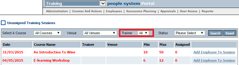 Fig 3 - New Trainer Drop-down List