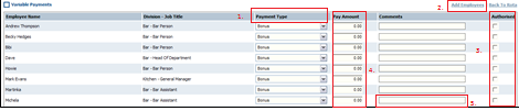 Variable payment details