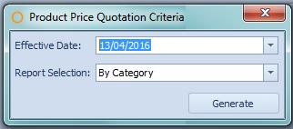 Product Price Quotation Report Criteria
