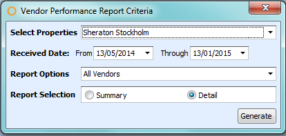 Receiving Vendor Performance Criteria