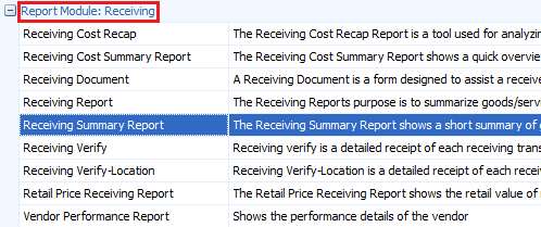 Receiving Summary Report