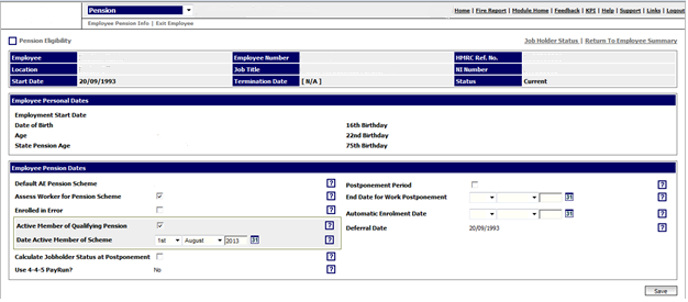Fig 1 – Pension Eligibility Screen
