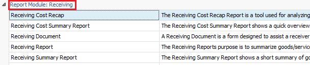 Receiving Cost Recap Report