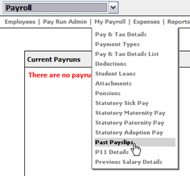 Fig 2 - My Payroll dropdown
