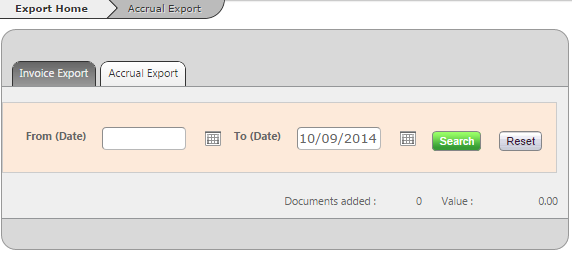 Fig 5 - Old Version of the Accrual Export Page