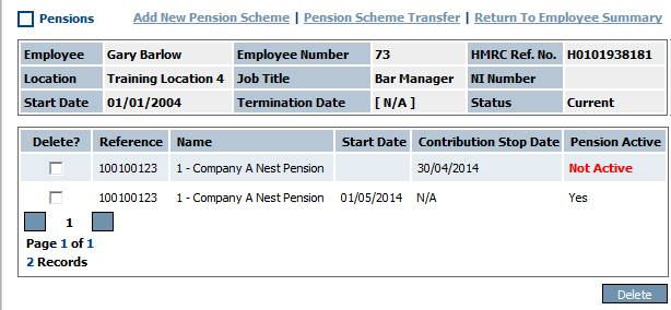 Fig 3 - Pensions, Showing Inactive & New Pension Scheme