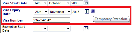 Fig 6 – Updated Expiry Date on a Student Visa