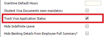 Fig 1 – Track Visa Application Status Setting