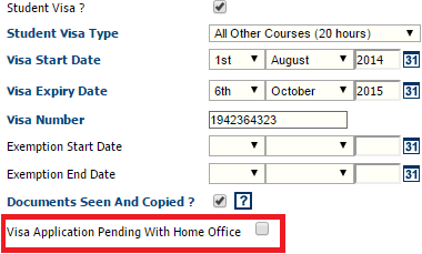 Fig 2 – New Setting on a Work Visa