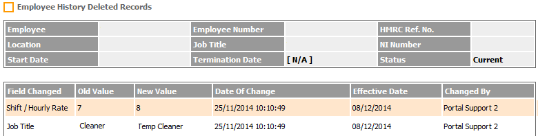 Fig 3 - Employee History Deleted Records Page