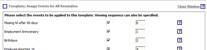 Fig. 5 - Events template window