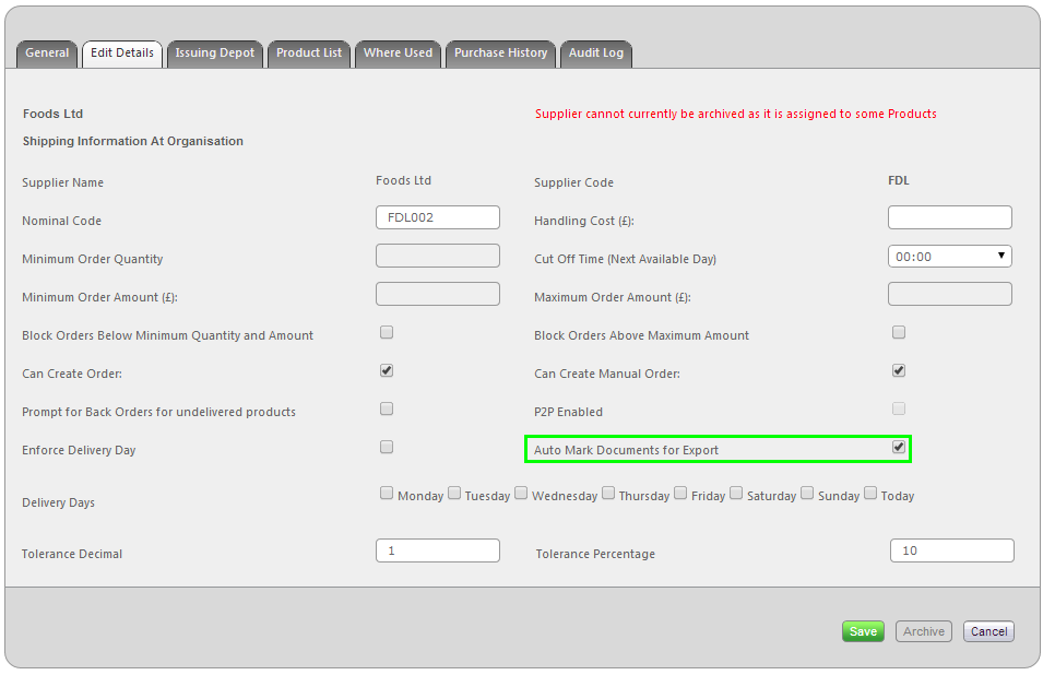 Fig 1 - Auto Mark Documents for Export Setting