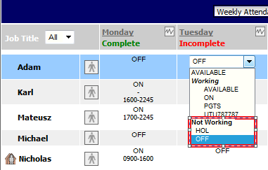 Fig 3 - Rota Page with Global Setting Disabled