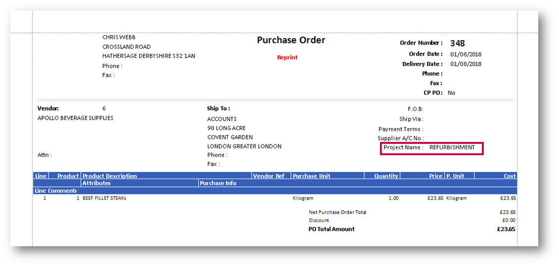 Fig.8 – Project Name shown in a PDF Purchase Order