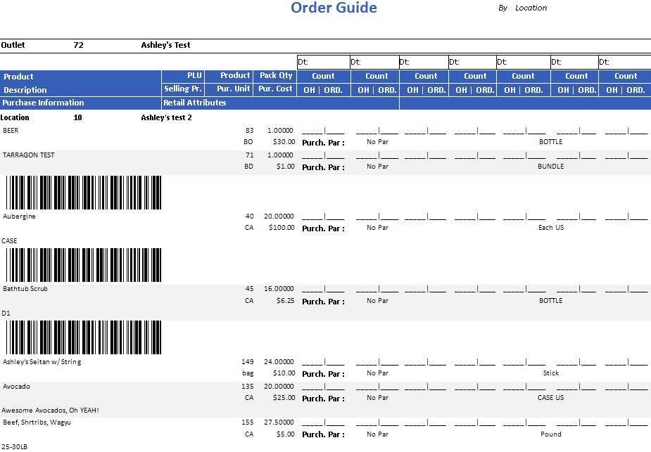 Order Guide Report 2