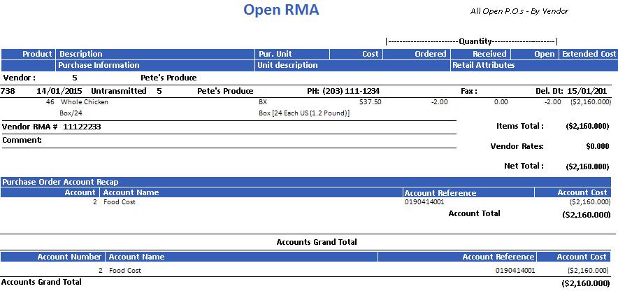 Open RMA Report