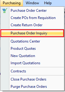 Purchase Order Inquiry drop down