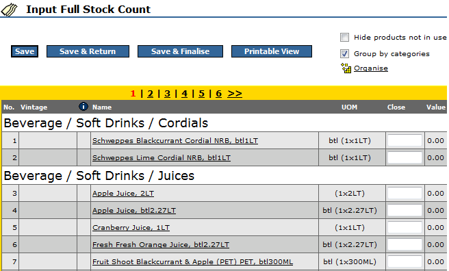 Fig 4 - Stock Count Input Page