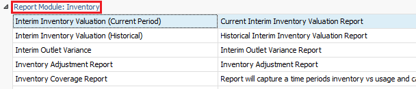 Interim Inventory Valuation (Current Period) Report