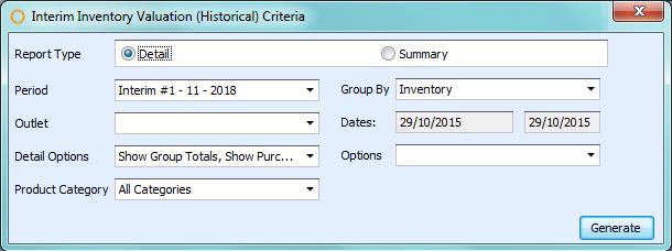 Interim Inventory Valuation (Historical) Report Criteria
