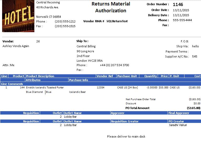 Returns Material Authorization report