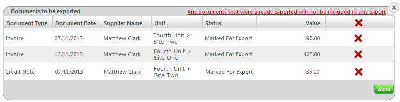 Fig 7 - Export Confirmation Window