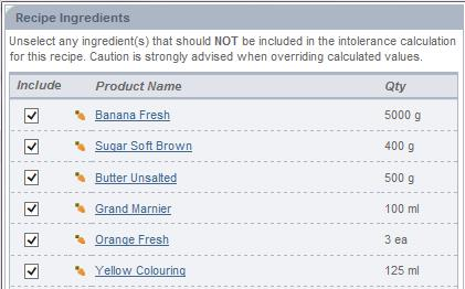 Fig 4 - this image shows Exclude Ingredient From Intolerance Calculation Dialogue Box