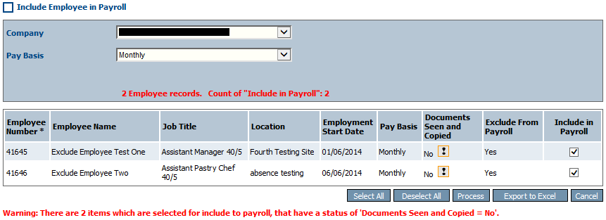 Fig 10 - Include Employees in Payroll Page