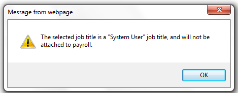 Fig 3 - System User Employee Warning