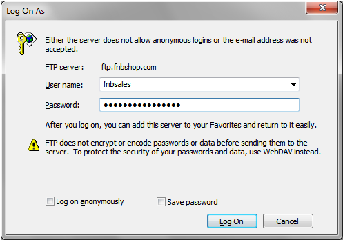 Fig 2 - Login Pop-up Window