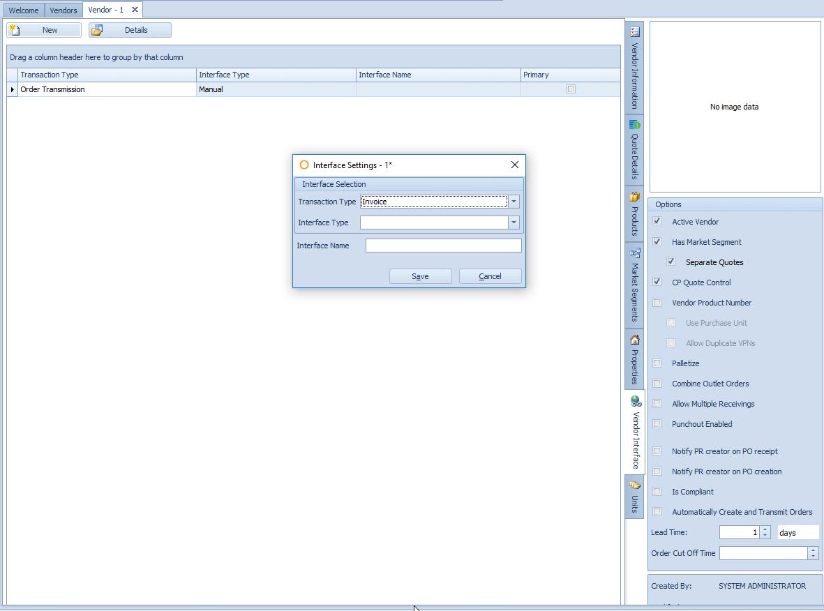 Fig. 6 - Vendor Interface Tab