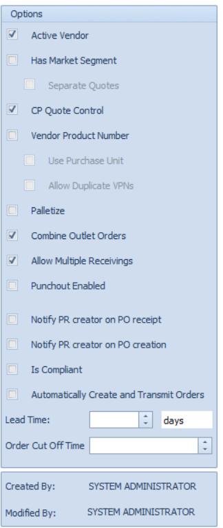 Fig 7. Vendor Options