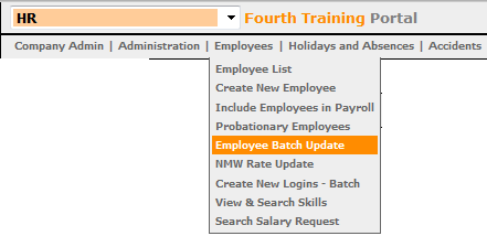 Fig 1 – Locating the Employee Batch Update