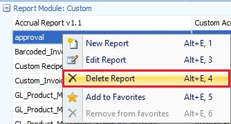 Delete custom report