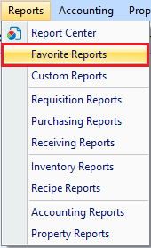 Favourite Reports drop down