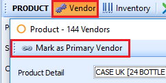 Mark as Primary Vendor becomes accessible