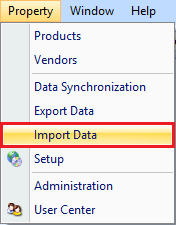 Import Data drop down