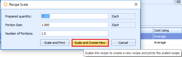 Scale and Create option