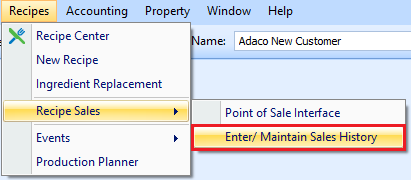 Enter/Maintain Sales History drop-down