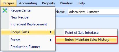 Enter/Maintain Sales History drop-down