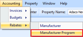 Manufacturer Program drop down